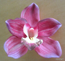 """Full 4.5"""" Fuchsia Pink Orchid Poly Silk Flower Hair Clip,PinUp,Updo,Rockabilly"""