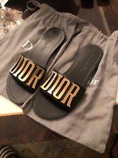$1190 CHRISTIAN DIOR Black Gold EVOLUTION SLIDE SANDALS FLATS SIZE 38 Slipper