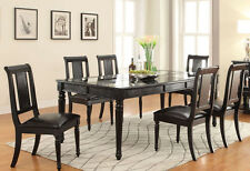 NEW 7PC ALICIA BLACK FINISH WOOD CROCODILE PATTERN DINING TABLE SET w/ CHAIRS