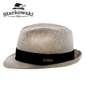 Sterkowski FOLK Linen Summer Trilby Hat Airy Sun Beach Straw Outback Casual