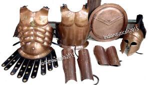 Medieval Muscle Jacket Copper Greek Helmet Arm & Leg Guard & Shield LARP Armor