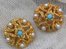 Gold Plated Pearl Earrings Vintage Costume Jewellery (1960s)