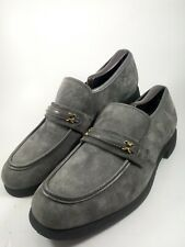 Men's Hush Puppies Slip On Loafers Size 9 Gray Suede Casual Dress Steel Shank