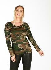 New Womens Long Sleeve Cold Cut Outlook Shoulder Crop Ladies Printed T Shirt ASF
