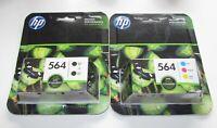 Genuine HP 564 (2) Black & 564 C,M,Y Color Ink Cartridges 2019 Exp.