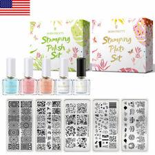 BORN PRETTY Nail Stamping Kit Pink White Blue Polish Stamping Plates Nail Latex
