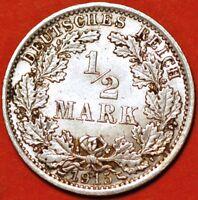 1915 J Germany. 1/2 Mark Wilhelm II type 2. Silver  KM# 17