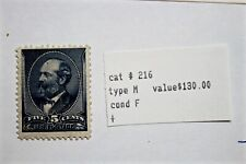 Scott # 216 Unused 1888 Garfield 5c Five Cent Us Stamp #216 Blue See My Others