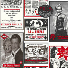 HT17220 - Hit the Road Black & Red 50's Newspaper Advertising Wallpaper
