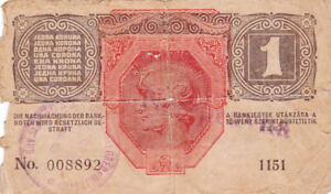 1 KORONA VG BANKNOTE WITH STAMP FROM BOSNIA/MITROVICI 1919