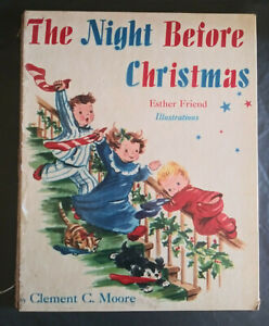 """The Night Before Christmas by Clement C Moore 1949 with 7"""" Record"""