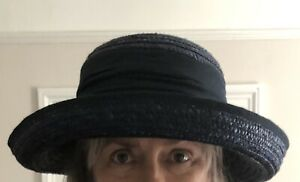 New Seeberger Straw Up Brim Hat - Navy Blue - Sun Or Wedding. RRP £45