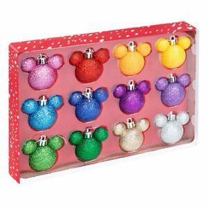 Disney Christmas Rainbow Glitter Baubles Set Of 12