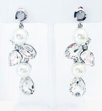 EARRING using Swarovski Crystal Dangle Drop Wedding Bridal Fancy Pearl Silver 03