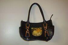 Debbie Brooks Satchel Bag Black Italian Leather Swarovski Crystals Detail Croc