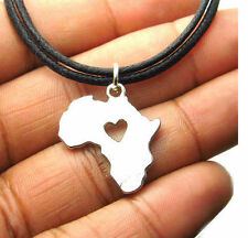 Map of Africa Necklace Afrocentric African Choker with Heart Hip Hop Jewelry