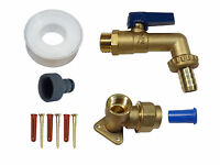 20mm MDPE Outside Tap Kit. With Wall Plate, Heavy Duty Lever Tap, Hose Fitting