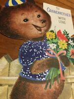 Vintage Hallmark Bear w/ Glitter Shirt Flowers Grandmother Birthday Card