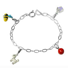 De Buman Sterling Silver Enamel Dog and Bee Bead fit Bracelet, 8.5 inches