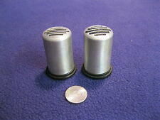 Vintage Brushed Silver Column Salt and Pepper Shakers Plastic Base           34