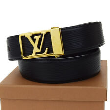Authentic LOUIS VUITTON Ceinture Belt Epi Leather 85/34 Black France 61U841