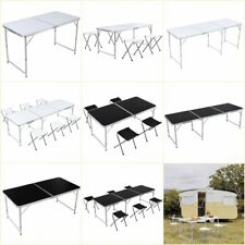4/6Ft Portable Folding Table Outdoor Picnic Camping Dining Party Indoor w/ Stool