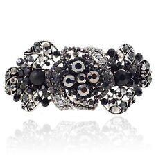 Black Rhinestone Crystal Rose Barrette Silver Tone Hair Clip Party Gift