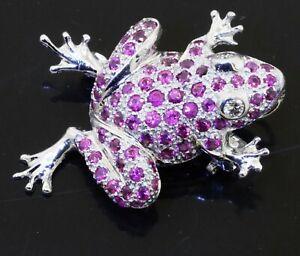 18K white gold 2.25CT VS1/G diamond ruby & sapphire frog brooch