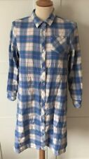 DUKKAH, Pale Blue Checked Brushed Cotton Long Shirt/Dress, Size 8-10, WORN ONCE