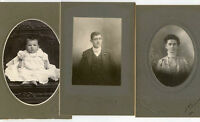 3 Antique Matted Photos-Baltimore, Maryland, Young Man, Lady W/Glasses & Baby