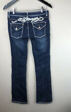 Ed Hardy By Christian Audigier White Signature Stitch Jeans Size 26 (1)