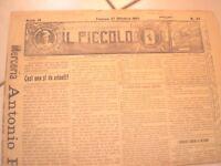 IL PICCOLO N.44 FAENZA 27/10/1907 FAENZA cronaca socialisti contro la religione