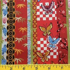 PALACE GARDEN cotton fabric for sewing quilting BORDER STRIPE  Asian theme RED
