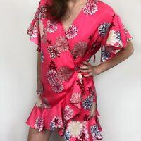 BB Dakota Kristen Pink Floral Wrap Ruffle Short Sleeve Mini Dress Women Size XS