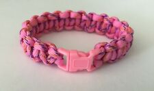 "Handmade Cobra Paracord Hot Pink with Blue& Gold  Bracelet 7"" wrist"