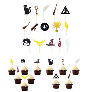 15Pcs Harry Potter Cake Picks Cupcake Toppers Flags Kids Birthday Party Decor