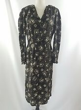 Flora Kung NY Vintage Black Tan Silk Flowered Long Sleeve Buttoned Dress Size 12