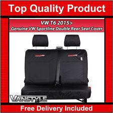 GENUINE SPORTLINE OE VW T6 TRANSPORTER 2015+ DOUBLE REAR SEAT COVERS KOMBI BLACK