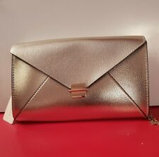 Ladies Primark metallic Gold Clutch Bag with gold chain strap. BNWT. Match items