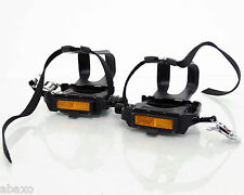 Wellgo Sport Road Bicycle Cage Pedals Set with Straps Black 9/16 Fixie Road Bike