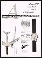 1950's Vintage Felca Airmaster Wrist Watch Mid Century Modern Plane Art Print AD