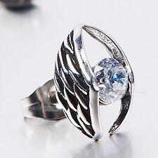 silver stud stainless steel crystal SINGLE vintage style earring