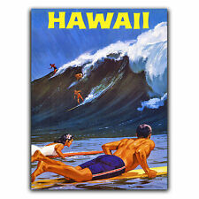 HAWAII SURFERS METAL SIGN WALL PLAQUE Vintage Travel Holiday Decor Advert print