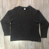 Old Navy Mens Large Shirt V-Neck Charcoal Gray Long Sleeve