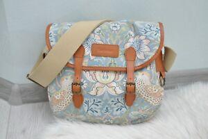 Barbour William Morris flower bird Print Reiver Messenger Bag Leather Detail