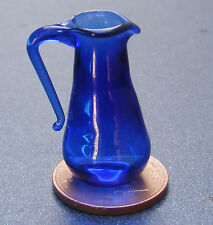 1:12 Scale Tall Blue Glass Jug Tumdee Dolls House Kitchen Drink Accessory G29b