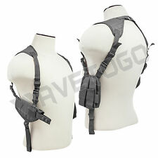 VISM NcSTAR Tactical Horizontal Shoulder Holster Double Pistol Mag Pouch Gray