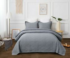 Coverlet Quilt 100% Cotton No Polyester Super King 265x285 Grey Bedspread 3 PCE