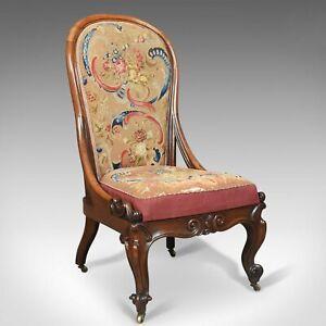 Antique Nursing Chair, English Walnut, Needlepoint Tapestry Victorian Circa 1840