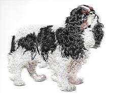 """2 7/8"""" x 3"""" Tri-color King Charles Spaniel Dog Breed Embroidery Patch"""